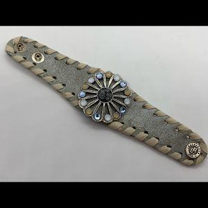 New LeatheRock Leather Rhinestone Flower Bracelet